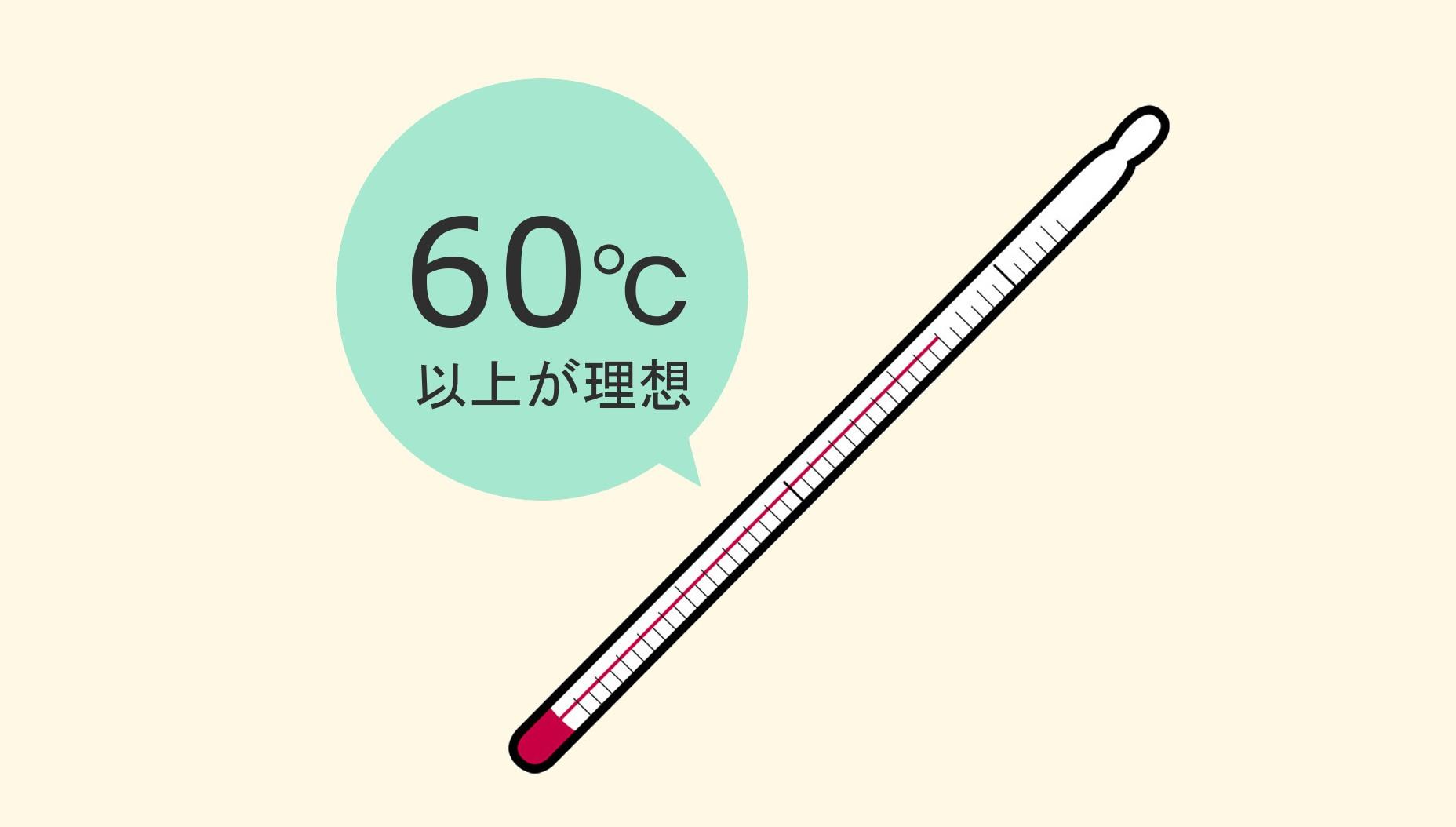 60℃以上をさす温度計